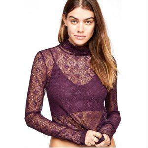 Intimately Free People Lace Stretch Sheer Top XS